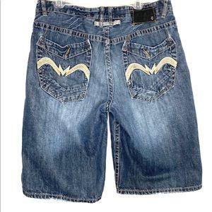 ECKO UNLTD 36 Mens Embroidered Denim Shorts Urban